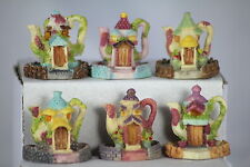 TEAPOTS - SET OF 6 MINIATURE TEAPOTS - GREAT CRAFTERS ORNAMENTS - DOLLS HOUSE