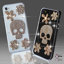 NEW 3D DELUX COOL BLING SKULL GOTH DIAMANTE CASE FOR IPHONE SAMSUNG SONY HTC BB