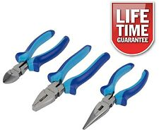 """3PC 6"""" 150mm PLIER SET COMBINATION STRAIGHT LONG NOSE SIDE CUTTER CUTTING PLIERS"""