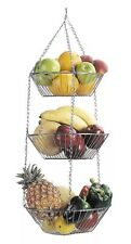 Kitchen Craft New 3 Tier Hanging Chrome Plated Fruit & Vegetable Storage Basket