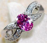 Top Quality 2CT Pink Sapphire & Topaz 925 Sterling Silver Ring Jewelry Sz 8, SC4
