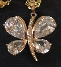 Perfect Brilliant Sparkle Crystal Diamond Butterfly Gold Pendant FREE Chain