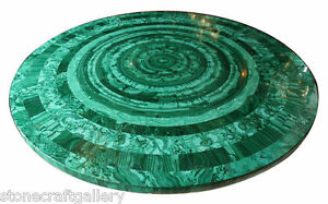 """48"""" Marble Round Malachite Table Top Inlay Handmade Work For Home And Garden"""