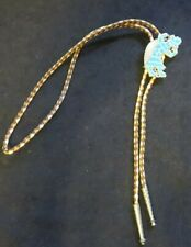 metal and turquoise inlaid Kachina bolo tie silver