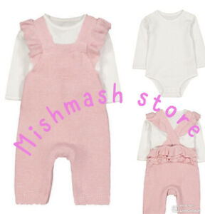 Mothercare Baby girls pink heart Knitted Long Sleeve Bodysuit Dungarees romper