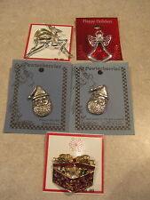 Mixed 5 Lot of Christmas Holiday Pins - Angel - Deer - Santa - Gift