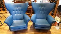 JAMES BOND Blofeld G Plan 1960s Chairs (PAIR) blue Retro Vintage Art Deco