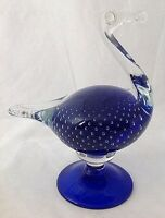 Cobalt Blue Art Glass Ostrich Bird Murano Style Bullicante Controlled Bubbles