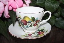 DUCHESS FRUIT #384 TEA CUP AND SAUCER HAND PAINTED BONE CHINA MADE IN ENGLAND