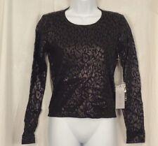JENNIFER LOPEZ Women's Small Shirt Black Metallic Animal Long Sleeve J Lo NEW