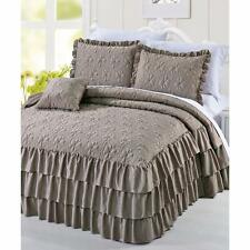 Beautiful Dark Taupe Romantic Triple Ruffle 3-Pc Bedspread Set Matte Satin King