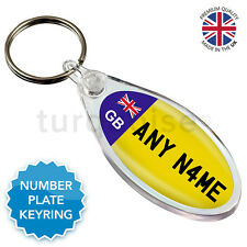 Personalised Custom GB Registration Number Plate Keyring | Round Oval Eclipse