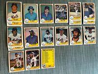 1981 NEW YORK METS Fleer Baseball Card Team Lot 15 Cards+4 Ex. TORRE MAZZILLI !