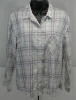 Victoria's Secret Womens Button Down Shirt Blouse Top XS Pink White L/S Plaid XS