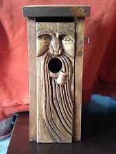 Hand carved bird house, spirit of the woods, old man of the woods