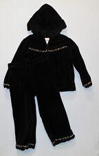 "Gymboree ""Glamour Kitty"" Leopard Trim Black Velour Hooded Jacket Pants Set, 3"