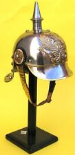 PICKLE HAUBE GERMAN WW I ARMOR SPIKED PURSSIAN OFFICER HELMET W/ LEATHER LINER