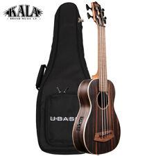 NEW Kala U-BASS Striped Ebony Acoustic Electric Ukulele with Round Wound Strings