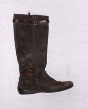 MANFIELD bottes plates zippées cuir marron foncé P 35 = 36  TBE