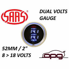 "SAAS 52mm 2"" Dual Battery Volts Gauge 8-18v Black Dial Digital Face SG-DDVLT52B"