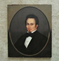 19th c. HORACE BUNDY Portrait Oil Painting Gentleman Man w/ Masonic Pin Antique