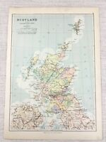 1894 Antik Map Of Schottland Eisenbahn Routen Canal Network Fluss Tabelle 19th C