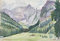 Aquarell Impressionist Hoher Göll Hohes Brett Alm Berchtesgadener Alpen signiert