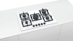 Bosch Gas Hob PPQ7A2B20 Serie 6 Tempered Glass White 75cm