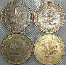 10 Pfennig 1977 D F G J Kompletter Satz