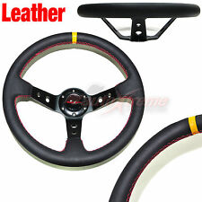DEEP DISH Style LEATHER 6 Bolt 3 Spoke Racing Steering Wheel RED Stitch BLACK