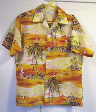 1960s/70s Vtg KOLEKOLE Polyester HAWAIIAN Aloha SHIRT~Sailboats/Palm Trees~Sz M