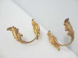 Antique Brass Curtain Tie Backs Hooks French Old Victorian Rococo Vintage Urn