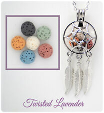 Dream Catcher 2 Aromatherapy Essential Oil Necklace with 6 lava stones!