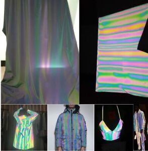 130cm*1yard Iridescence Reflective Magic Rainbow Fabric High Visibility