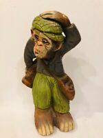 "VTG Monkey Golfer Golf Caddy Plaster 13"" Statue Chalkware Figure Made In Mexico"