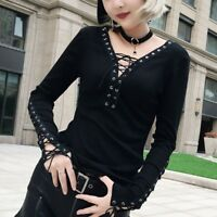 Sexy Womens Strappy Crochet Top V-Neck Cotton Blouse Party Punk Rock Shirts Knit