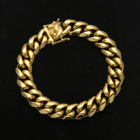 Mens Miami Cuban Link Bracelet Chain 14k 18k Gold Plated Stainless Steel 10MM