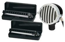 2x Mundharmonika Blues Harmonika C-G-Dur 10-Loch diatonisch Set Harp Mikrofon