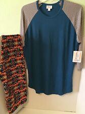 NEW Lularoe Outfit Lot - L Ribbed Randy + TC Leggings Blue Orange