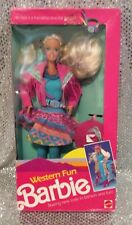 WESTERN FUN  BARBIE DOLL 1980s VINTAGE 1989 MATTEL # 9932 NRFB MINT