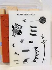 Stampin Up OWL OCCASIONS wood mount stamps NEW Birthday Party Christmas Branch