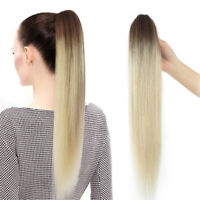 Real Remy Human Hair Extension Hairpiece Straight Clip In/On Claw Ponytail Ombre