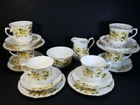 Vintage Yellow Floral QueenAnne Bone China Tea Set 20 pieces