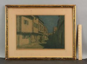 1911 Antique Tavik Frantisek TF Simon Aquatint Etching, Nocturne Brittany France