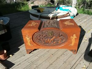 VNTG Carved Wood Camphor Chest Trunk Chinese Asian Oriental Culture Art High-End
