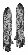 Long Black Lace Spider Web Gloves Witch Zombie Vamp Ladies Halloween Fancy Dress