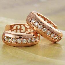 14K ROSE GOLD LAYERED WOMENS SIMULATED DIAMOND HUGGIE HOOP EARRINGS LADIES GIRLS