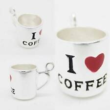 3D I Love Coffee Heart Mug Cup 925 Silver Charm Pendant w Spacer or Necklace