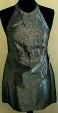 Ben Sherman NWT Blk & Orange Original Label Sharkskin gray Sexy Halter Dress ~ M