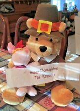 "Disneys Pooh Gram Thanksgiving Pilgrim Winnie The Pooh & Piglet 16"" Plush Only"